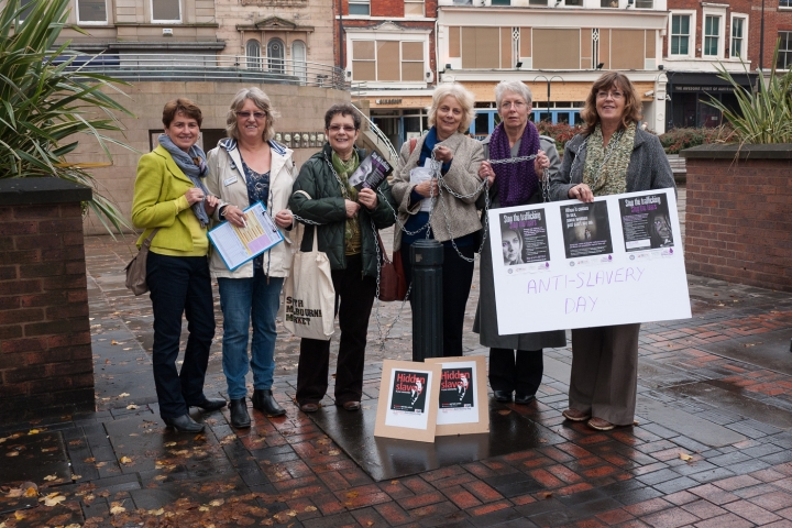 SI Derby raising awareness of Modern Slavery in Derby Market square last October.